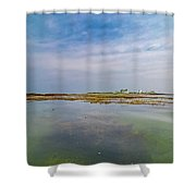 Goat Island Distant View Maine Shower Curtain