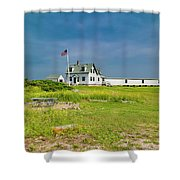 Goat Island Lighthouse Vibrant Day Landscape  Shower Curtain
