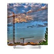 Going Up Greenville South Carolina Construction Cranes Building Art Shower Curtain
