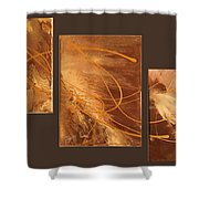 Wings Of Gold Brown Bckgrnd Shower Curtain