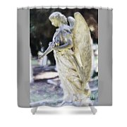 Golden Angel With Pink Rose Shower Curtain
