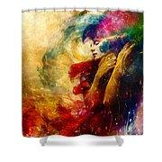Golden Gloom Shower Curtain