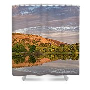 Golden Hour Contemplation At Moss Lake - Enchanted Rock Fredericksburg Texas Hill Country Shower Curtain