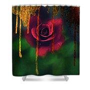 Golden Moments Of A Garden Rose Shower Curtain
