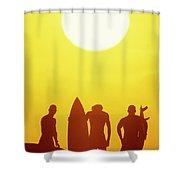 Golden Surf Silhouettes Shower Curtain