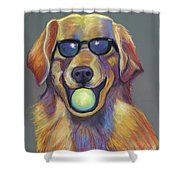 Golden With Ball Shower Curtain