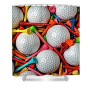 Golf Balls And Colorful Tees Shower Curtain