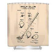Golf Club Patent Drawing From 1910 On Vintage Background Shower Curtain by David Millenheft