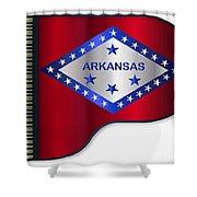 Grand Piano Arkansas Flag Shower Curtain