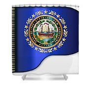 Grand Piano New Hampshire Flag Shower Curtain