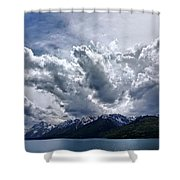 Grand Teton Mountains And Clouds Shower Curtain