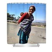Grandchild And Grandmother Shimla Himachal Pradesh Shower Curtain