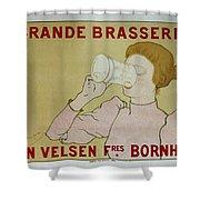 Grande Brasserie, 1894 Belgian Vintage Brewery Poster Shower Curtain
