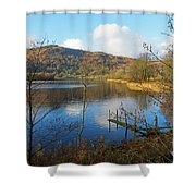 Grasmere In Late Autumn In Lake District National Park Cumbria Shower Curtain