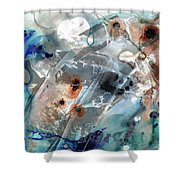 Gray And Blue Abstract Art - Enchanted Journey Shower Curtain by Sharon Cummings