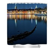 Gray Wolf Shipwreck And Stockholm Gamla Stan Fantastic Reflection In The Baltic Sea  Shower Curtain