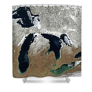 Great Lakes In Winter Shower Curtain