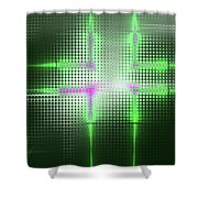 Green Aluminum Sparkling Surface. Metallic Geometric Abstract Fashion Background. Shower Curtain
