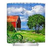 Green Bike On The Farm Shower Curtain