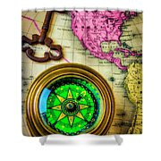 Green Compass And Old Key Shower Curtain