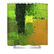 Green Envy Abstract Painting Shower Curtain