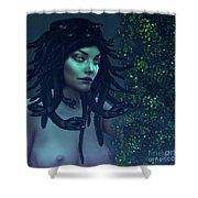 Green Eyed Medusa Shower Curtain