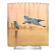 Green Heron Sunrise Shower Curtain