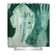 Green Portrait Shower Curtain