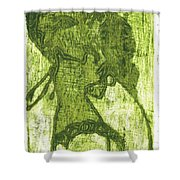 Green Thumb Cheek Girl Shower Curtain