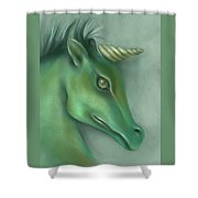Green Water Horse Unicorn Shower Curtain by MM Anderson