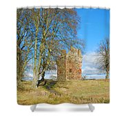 Greenknowe Tower In Late Winter Sun Scottish Borders Shower Curtain