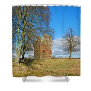 Greenknowe Tower In Winter Sun, Scottish Borders Shower Curtain