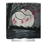 Grey Moon With Red Flowers Shower Curtain