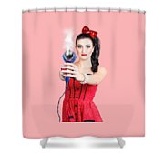 Hairdresser Woman Shooting A Cool Haircut In Style Shower Curtain