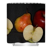 Half An Apple On Black Shower Curtain