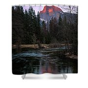 Half Dome Reflection Over Merced River At Sunset, Yosemite National Park  Shower Curtain
