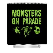 Halloween Shirt Monsters On Parade Green Gift Tee Shower Curtain