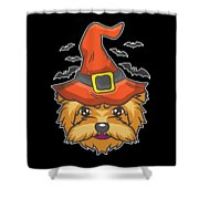 Halloween Shirt Witch Yorkshire Dog Costume Gift  Shower Curtain