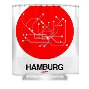 Hamburg Red Subway Map Shower Curtain