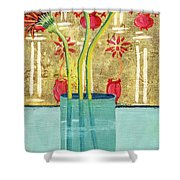 Indian Hand Painted Palace Wall Shower Curtain