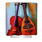 Hanging Violin And Mandolin Shower Curtain