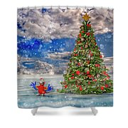 Happy Christmas Parrot Shower Curtain