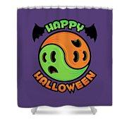 Happy Halloween Ghost Yin-yang Shower Curtain