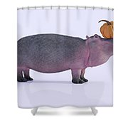 Happy Hippo And Pumpkin Shower Curtain