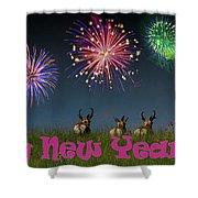 Happy New Year 2019 - Three Pronghorn Antelope Shower Curtain