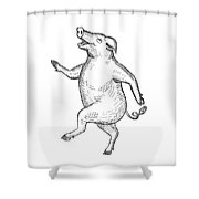 Happy Pig Dancing Drawing Retro Black And White Shower Curtain