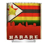 Harare Zimbabwe World City Flag Skyline Shower Curtain