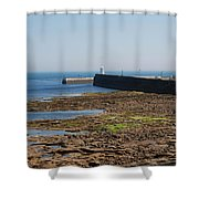 harbour at Seahouses on hazy summer day Shower Curtain