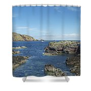 harbour entrance at St. Abbs, Berwickshire Shower Curtain