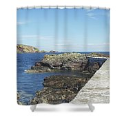 harbour wall and cliffs at St. Abbs, Berwickshire Shower Curtain